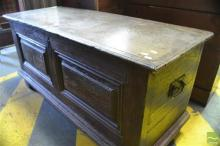 17th/ 18th Century Oak Coffer, with hinged lid and panelled body, enclosing a candle box