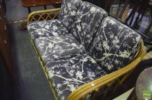 Cane Three Seater Sofa with Cushions