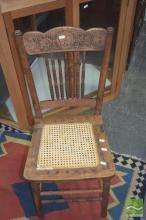 Pair of Pressed Back Chairs with Rattan Seat & Two Others (4)