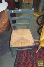 Set of Six Green Painted Chairs with Rush Seats