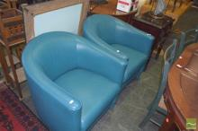 Pair of Retro Leather Tub Chairs