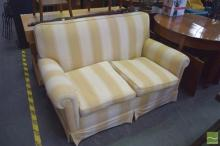 Cream Striped Upholstered Two Seater Sofa