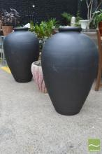 Pair of Large Painted Terracotta Urns