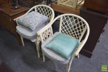 Cane Setting inc Pair of Tub Chairs & 2 Side Tables