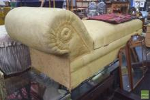 Gold Upholstered Chaise Lounge with Storage Below