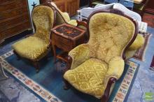 Carved Timber Grandfather & Grandmother Chairs