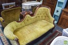 Carved Timber Two Seater Settee with Green Upholstery