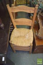 Set of Four Rustic Timber Chairs with Rush Seats