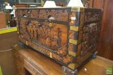 Carved Reproduction Camphorwood Lift Top Trunk (Key in Office)