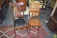 Pair of Timber Chairs with Cross Frame Support & Another (3)