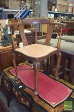 Edwardian Inlaid Corner Chair over Stretcher Base