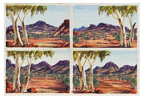 BENJAMIN LANDARA (1921 - 1985) - Central Australian Landscape, circa 1963 19 x 27 cm