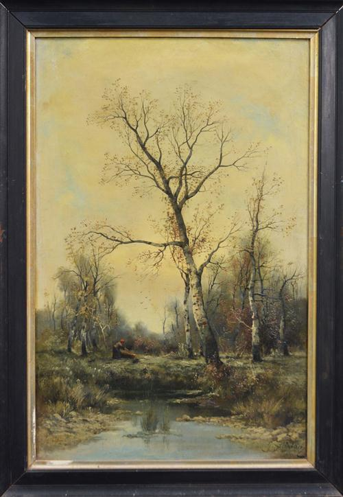 Gertrud Steinbach (1871 - ?) (2 works) - Waterbirds & Cutting Wood each 74 x 48cm