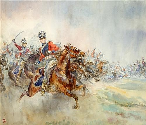 ELIZABETH BUTLER (1846-1933, British) - The 16th Light Dragoons Saving the Remnants of the Union Brigade 1915 watercolour and ink on...