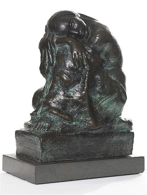 ARTHUR MURCH (1902-1989) - At the Well, Kneeling Figure c1930 bronze, edition: 3/9