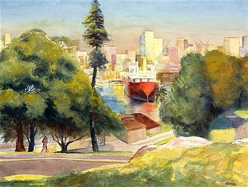 JOHN SANTRY (1910-1990) - Harbour View watercolour and ink on paper