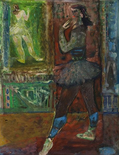 MICHAEL KMIT (1910-1981) - Ballet Dancer 1952 oil on card