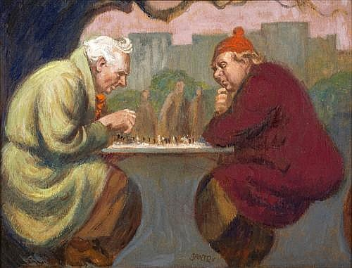 JOHN SANTRY (1910-1990) - Chess Players oil on board