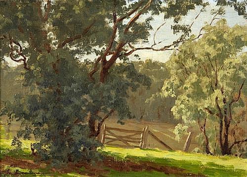 JO SWEATMAN (1872-1956) - Landscape (Warrandyte) oil on canvas