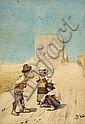 GIUSEPPE AURELI (1858-1929, Italian) - Untitled (Children Talking on the Road) 1883 watercolour on paper, Giuseppe Aureli, Click for value