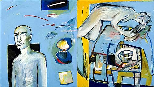 BARBARA LICHA (born 1957) - Allegro (Non Tropo) 1996 oil on canvas (diptych)