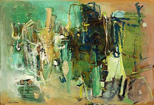 MARGO LEWERS (1908-1978) - Green Inhabitants oil on board