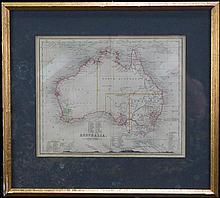 John Dower, Pentonville, London (XVIII) - Map of Australia c. 1850 21 x 25.5cm