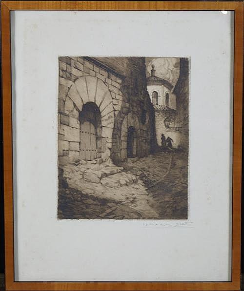 Ismael Blat (1901 - 1976) - Callejon de las Brujas, Burgos 24.5 x 20cm