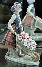 Lladro Figure of Girl with Wheelbarrow of Flowers