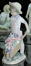 Lladro Figure of Boy with Wheelbarrow of Flowers