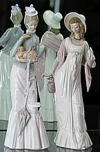 2 Lladro Figures of Elegant Lady's, one Victorian with Dog, the other Regency (neck restored)