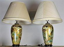 Pair of Oriental Table Lamps with Stalks