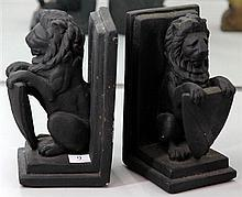 Pair of Heraldic Lion Book Ends