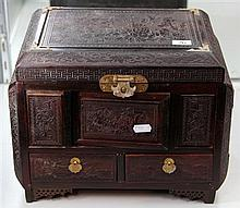 Chinese Carved Rosewood Jewellery Casket