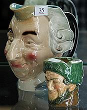 French Character Jug by Sarreggemines & Doulton Character Ashtray
