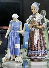 Dahl Jansen Figure of a Lady in Period Dress with Dog together with a B&G Figure