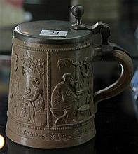 19th Century Stoneware Stein with Allegories of Ages of Life and the Seasons