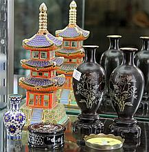 Japanese Mariage Pagoda by Suzuki & Co, Cloisonne & Chinese Lacquer Wares