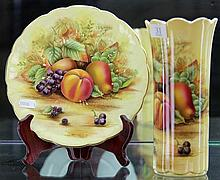 Aynsley 'Orchard Gold' Vase & Plate