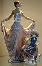 Lladro Figure of Dancing Lady a.f and Another of Girl with Flowers