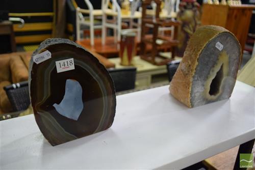 2 Agate & Quartz Cave Heart Polished Geodes
