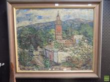 Clary-Baroux (French) 'Country Church' Oil/canvas SLL distressed