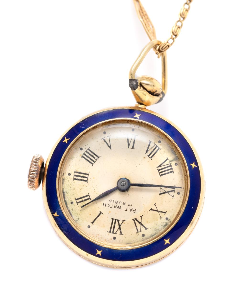 A LADY'S 18CT GOLD ENAMELLED PENDANT WATCH ON CHAIN; champagne dial signed, PAT WATCH, with Roman numerals, blue enamel bezel, case...