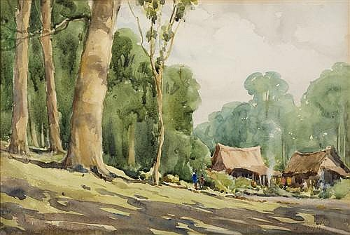 JESSIE TRAILL (1881-1967) - Native Village 34.0 x 24.0 cm
