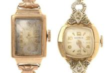 TWO LADY'S VINTAGE GOLD WRISTWATCHES; Benrus in 14ct two tone case set with two single cut diamonds, to silver dial with Arabic and...