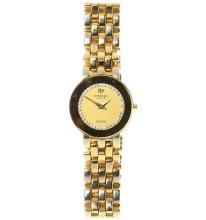 A LADY'S RAYMOND WEIL GOLD PLATED QUARTZ WRISTWATCH; brushed stone set dial to brick pattern bracelet band, new battery.