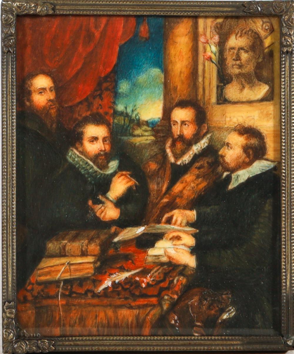 After Peter Paul Rubens c1577-1640, Antique Handpainted Miniature Portrait of 'The Four Philosophers', Signed 'A. Cona' (13.5cm x 11...