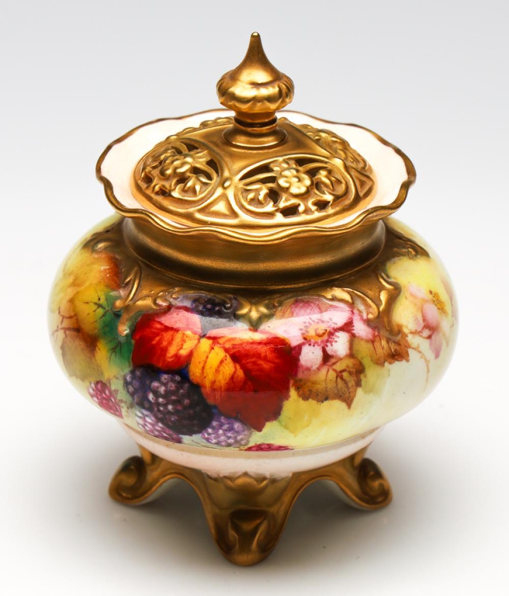 A Handpainted Royal Worcester Pot Pourri, Signed K. Blaky (H:11.5cm)