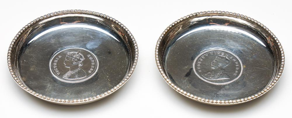 Pair of Indian Sterling Silver Coin Trays (Dia:8.5cm Wt 95g) With Colonial Indian Rupee Coin Centers and in Silk and Velvet Lined Bo...