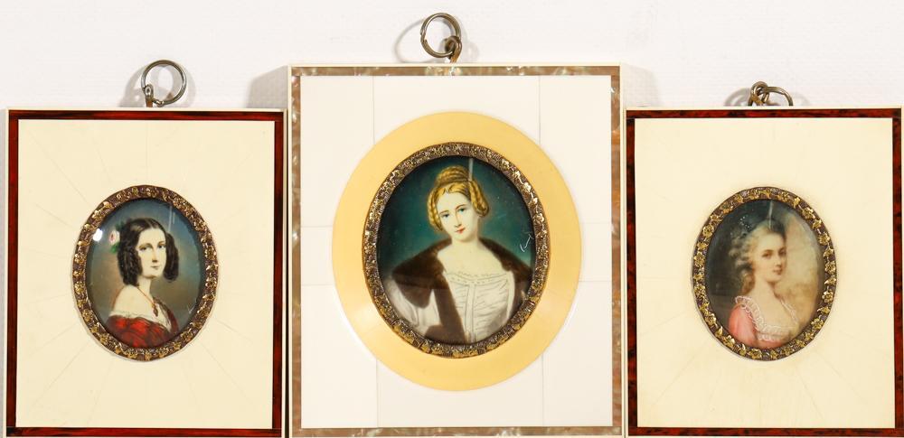 After Joseph Karl Stieler c1781-1858, Three Handpainted Miniature Portraits of 'Court Beauty' (12cm x 10.5cm - Largest)